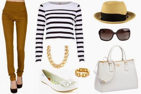 mustard treggings with striped crop top