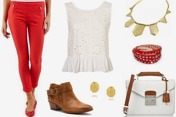 red treggings paired with white lace top and brown ankle boot