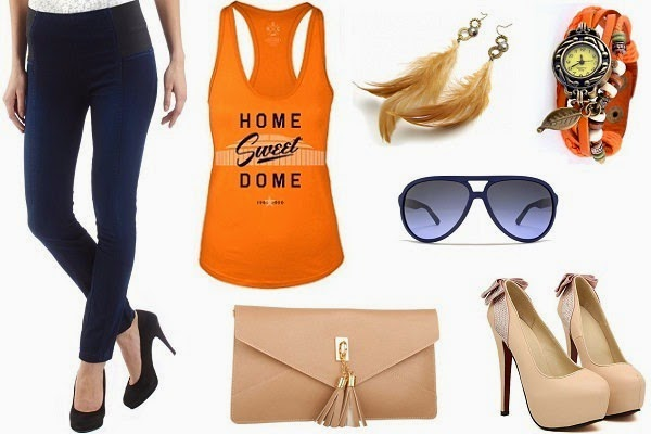 blue treggings outfit with tank top and heels