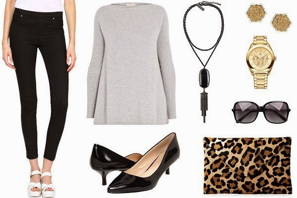 black treggings outfit with A-line tunic top