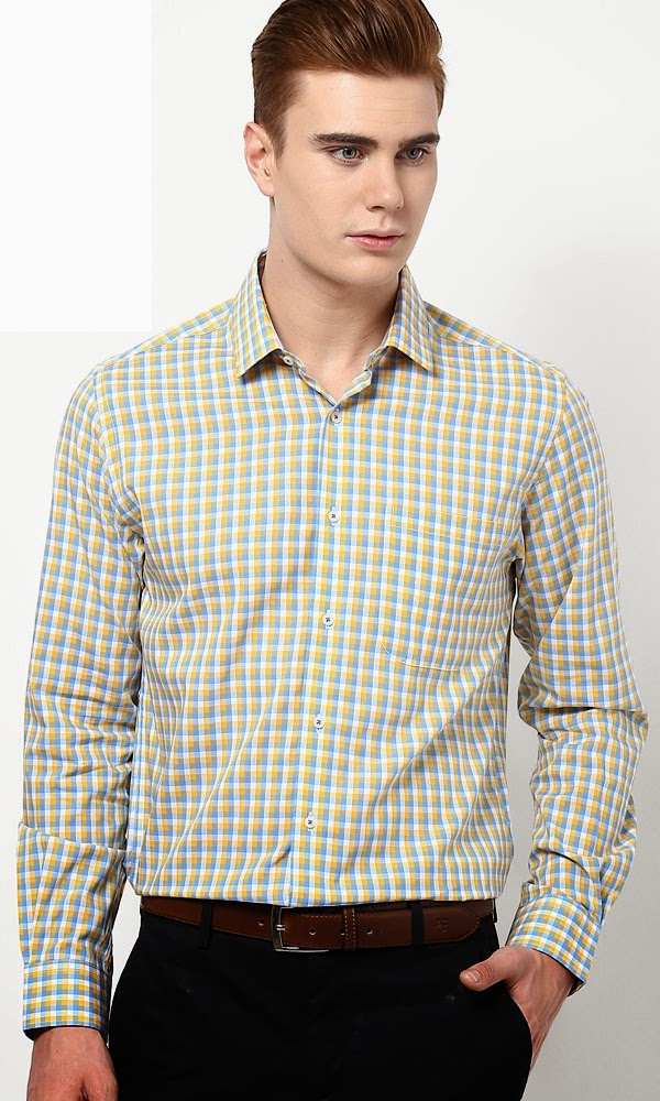 Peter England Yellow formal shirt and pant color combinations for men