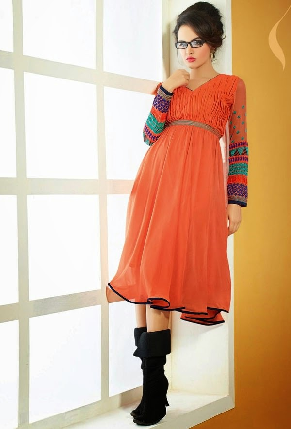 Stylish Orange Chiffon Kurti from Ananya Fashion House