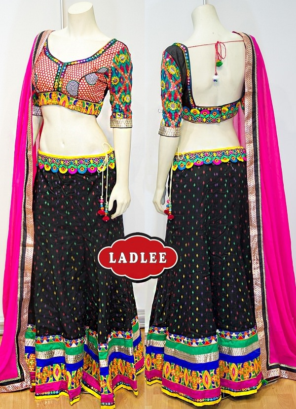 traditional black chaniya choli with embroidery work