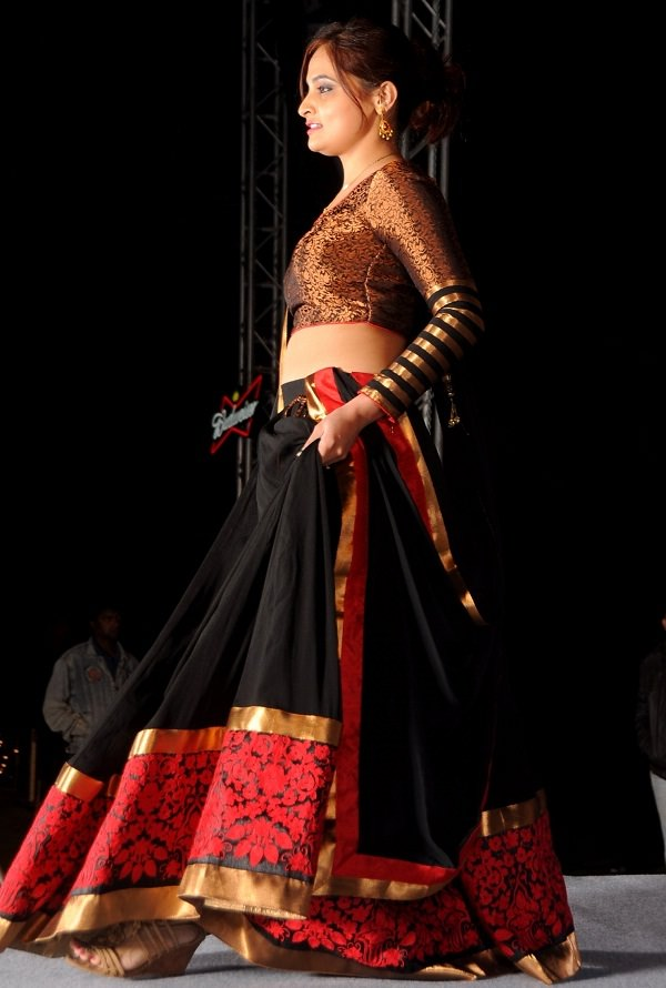 red, black and gold bollywood lehenga choli