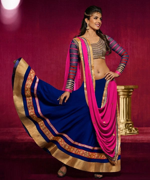 blue and pink faux georgette lehenga choli