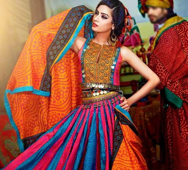 multi color chaniya choli with chunri prints