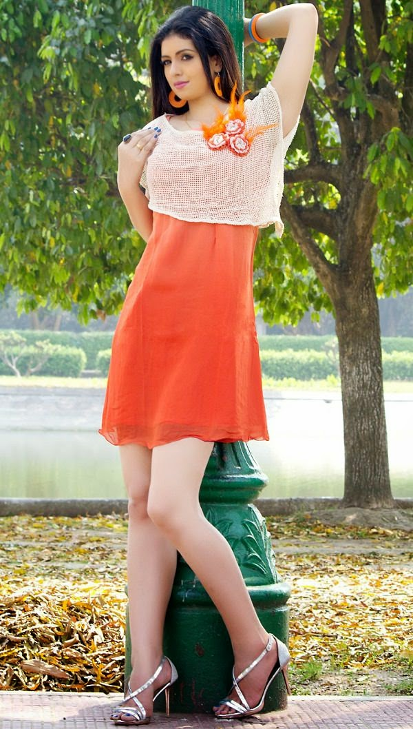 Orange and Off White Designer Kurti to wear without Leggings