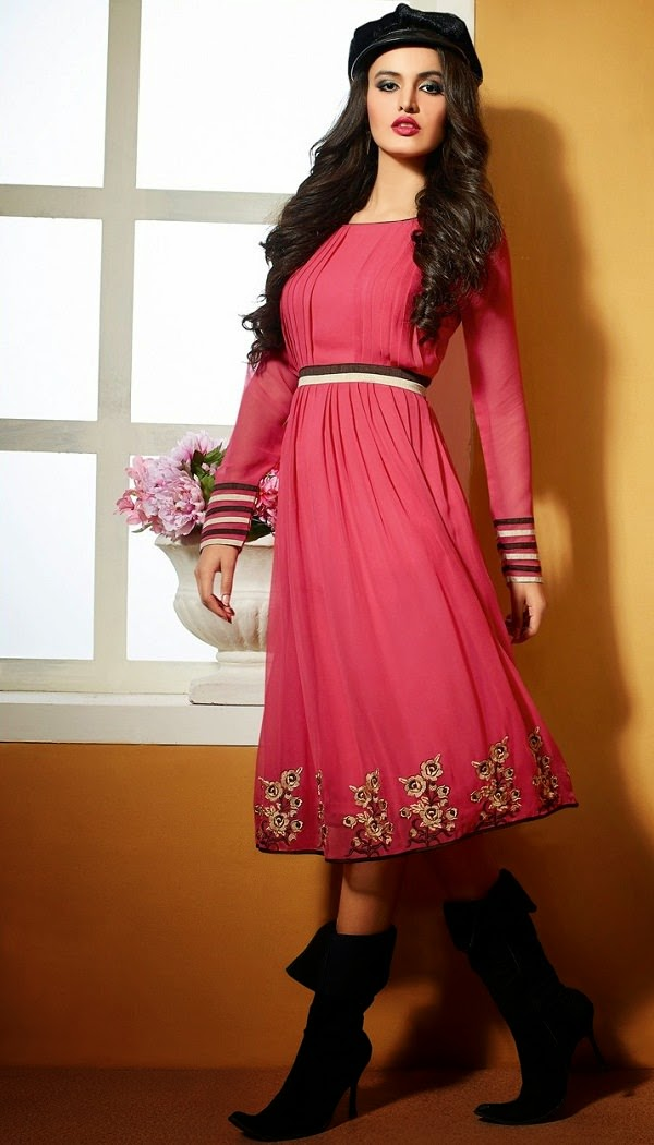Pink Coloured Georgette Kurti for party