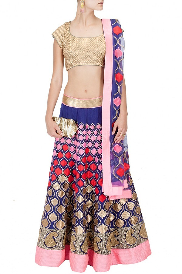 indigo blue and nude peach lehenga choli with embroidered patch work