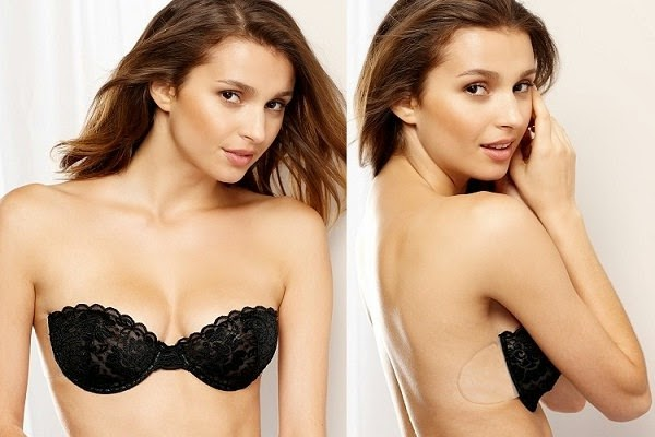 Backless Strapless Bra with Floral Lace and Silicone Cups