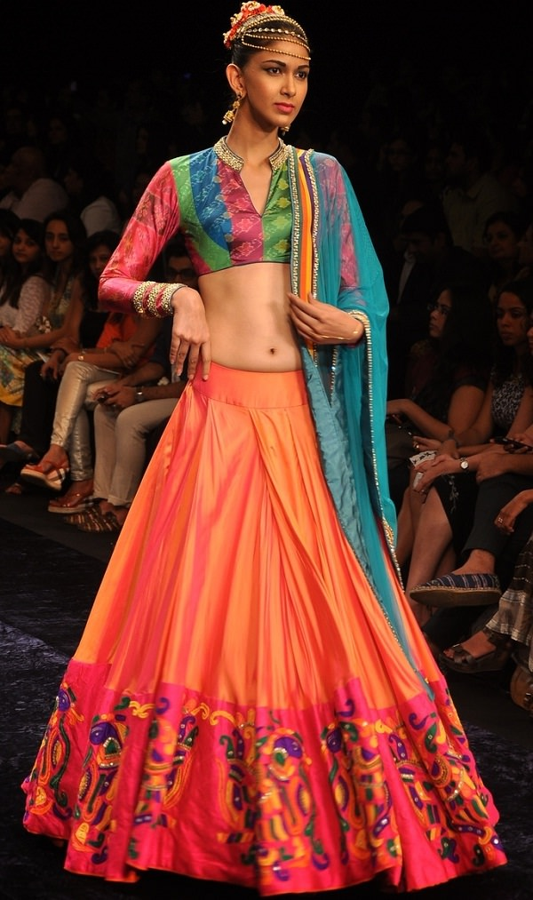 orange and pink lehenga with brocade blouse