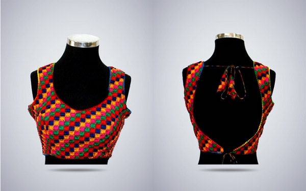 multi color backless saree blouse