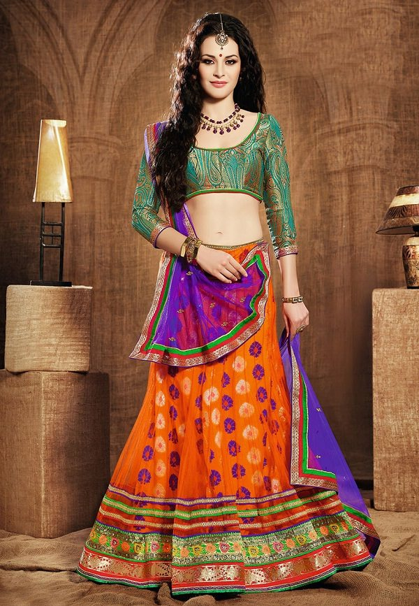 orange net shimmer lehenga choli