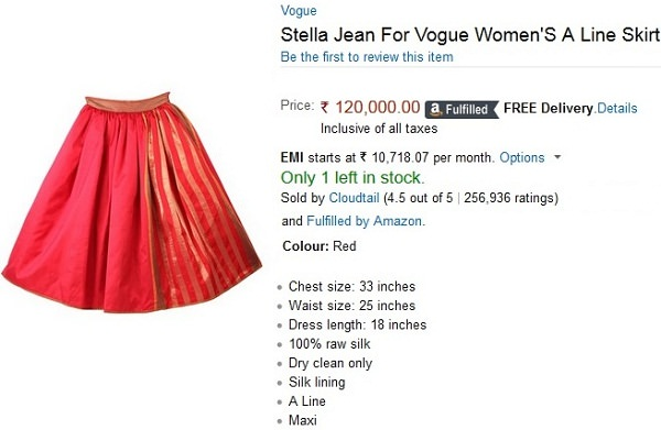 expensive skirts, overpriced skirt, most overpriced fashion india