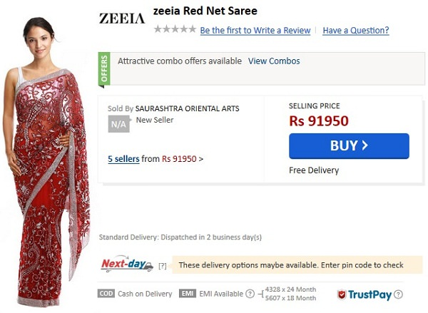 overpriced fashion items, overpriced net saree