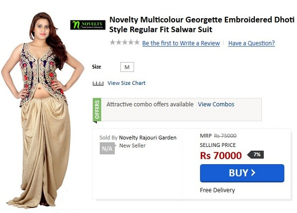 Novelty Multicolour Georgette Embroidered Dhoti Style Regular Fit Salwar Suit