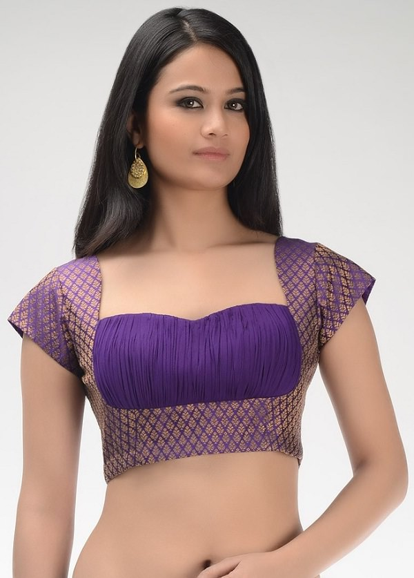ruched saree blouse with perfect fitting