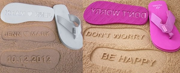 Sand Imprint Flip Flops to leave your message in sand
