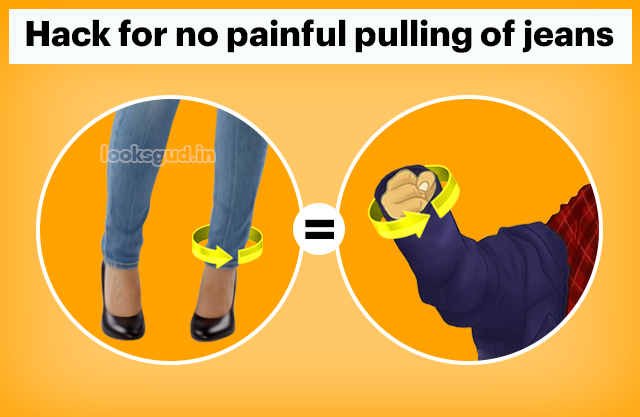 Skinny jeans won't fit over foot, hack to get skinny jeans on your feet