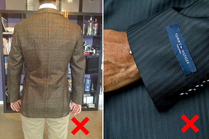 sleeve tags on suits