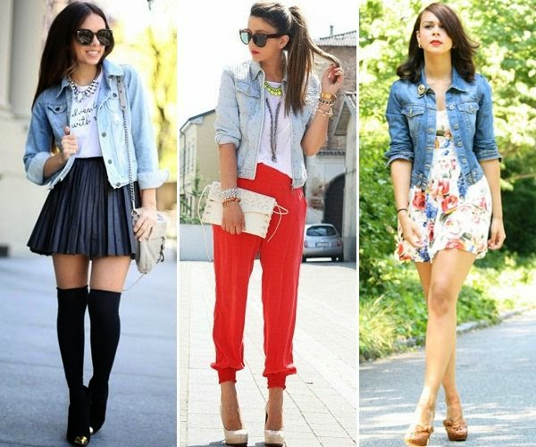 denim jacket with skirt, trouser and summer dress