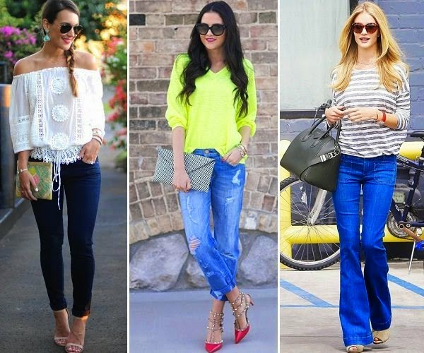 skinny, boyfriend and flared jeans outfit