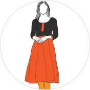 Anarkali kurti clipart drawing