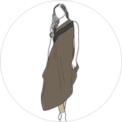 Asymmetric kurti clipart drawing