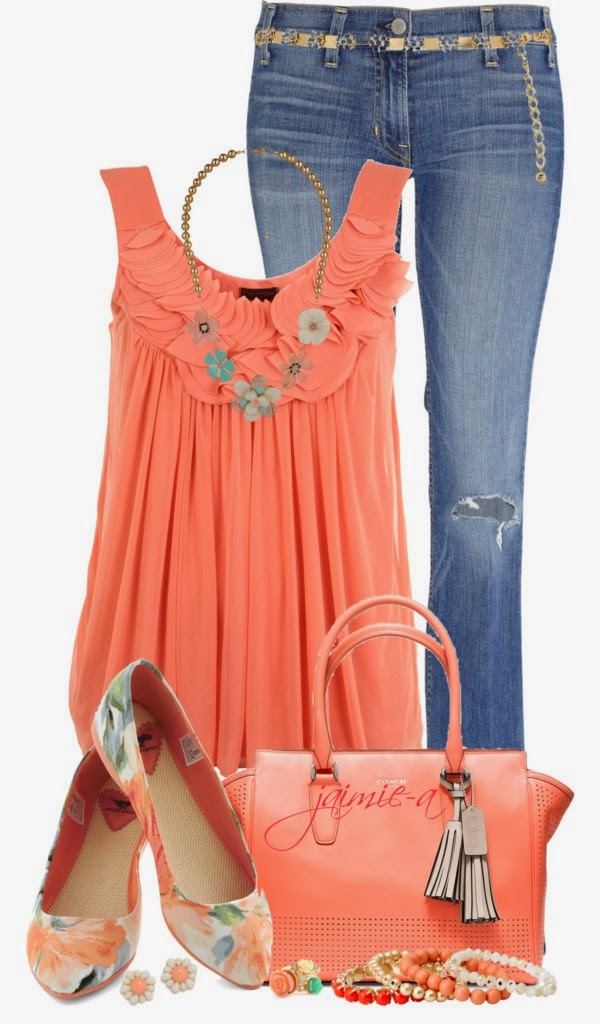 bright orange top, blue jeans, stylish Perforated handbag, absolutely stunning Floral Flats with a gorgeous spring flavor and beautiful jewelry