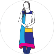 Color Block kurti clipart drawing