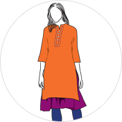Double Layered kurti clipart drawing