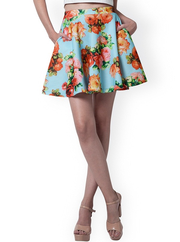 flared-skirt, floral printed skirt types, types of mini skirts