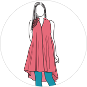 High low kurti clipart drawing