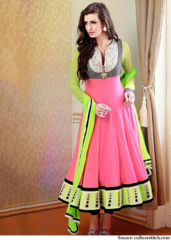 neon pink and green anarkali suit
