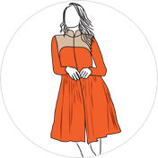 Indo Western Style kurti clipart drawing