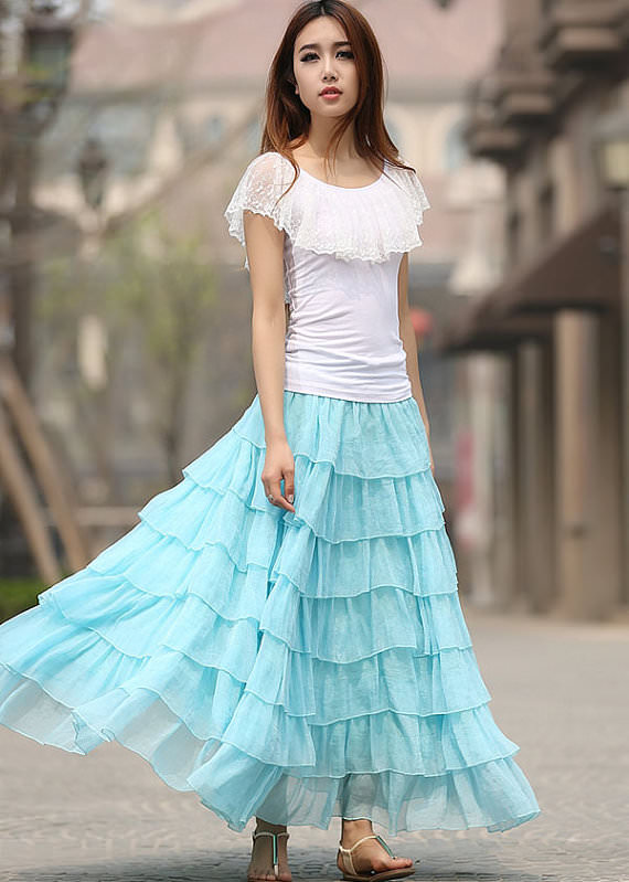 types of long skirts, flared skirts, different types of skirts illustration