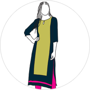 Long Straight kurti clipart drawing