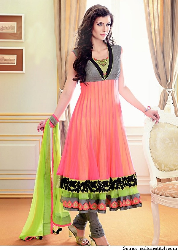 Neon peach and green anarkali suit