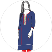 Princess Cut kurti clipart drawing