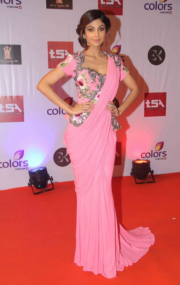 Shilpa Shetty in Pink Saree type gown