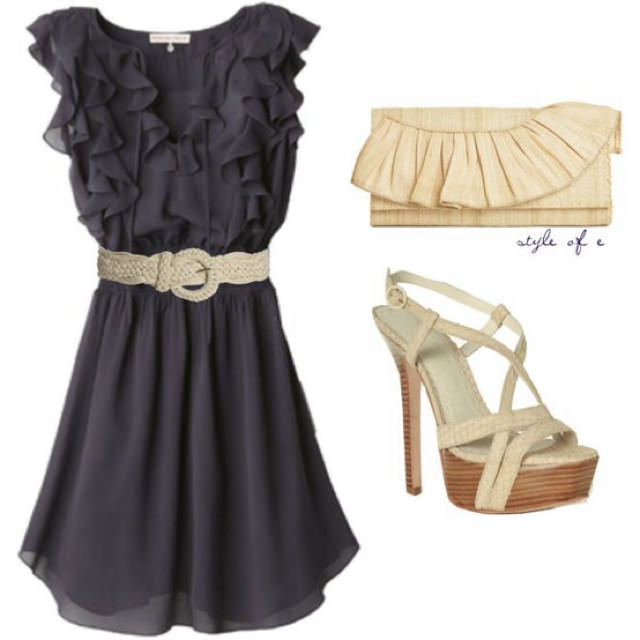 Navy Blue Ruffle dress with belt, champagne colored clutch