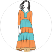 Tiered kurti clipart drawing