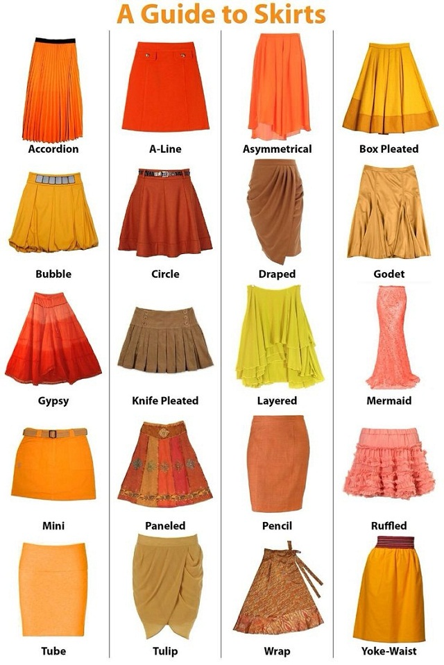 types of skirts guide, a guide to skirts