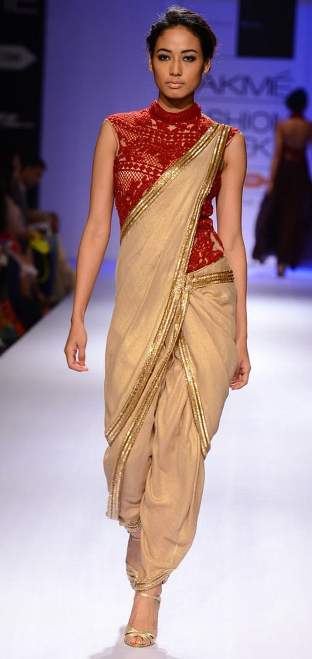 gold with red embroidery dhoti sari