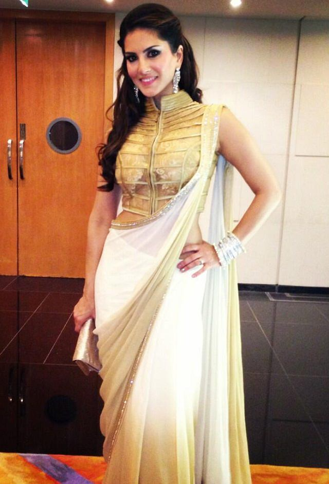sunny leone in gold and White saree with a stunning gold blouse