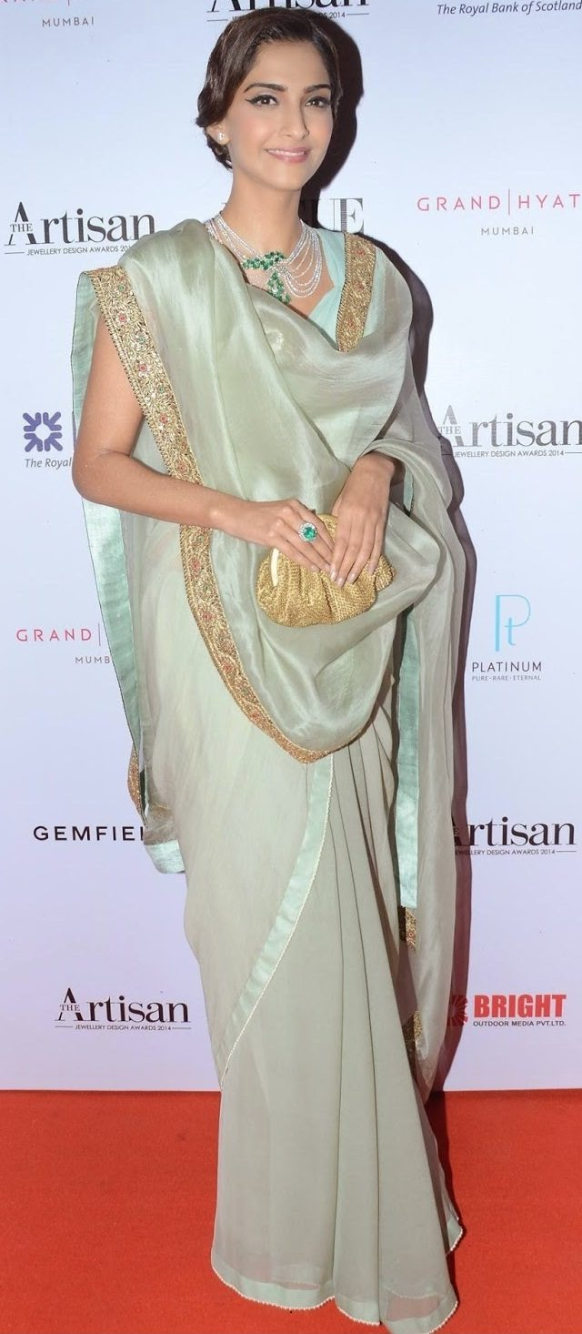 sonam kapoor in pale green saree