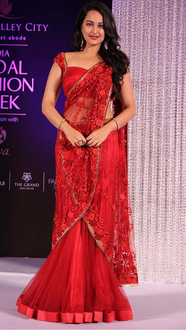 sonakshi in mermaid saree draping style to look slim