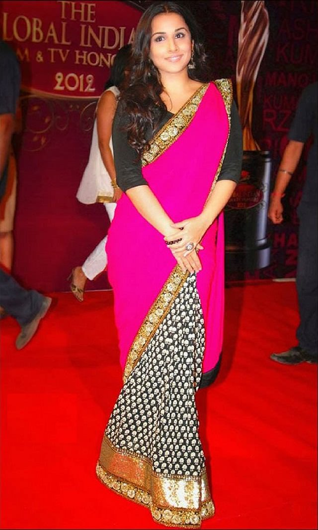 vidya valan in indian nivi draping style