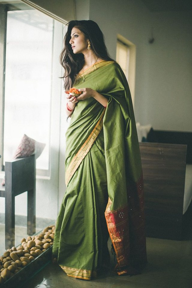 green saree in short floating style drape