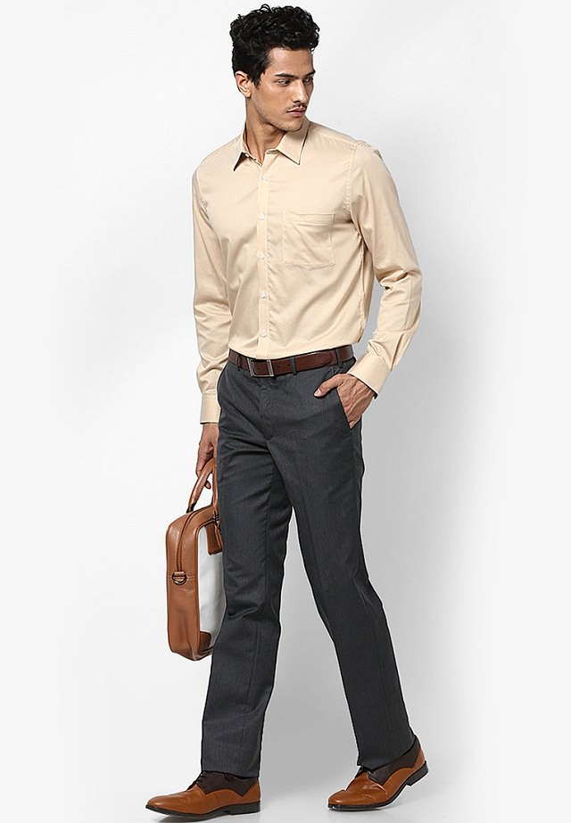 beige formal shirt with gray trouser, Enhance your look by wearing Beige formal shirt with gray pant